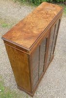 Burr Walnut Cabinet Bookcase by Cameo